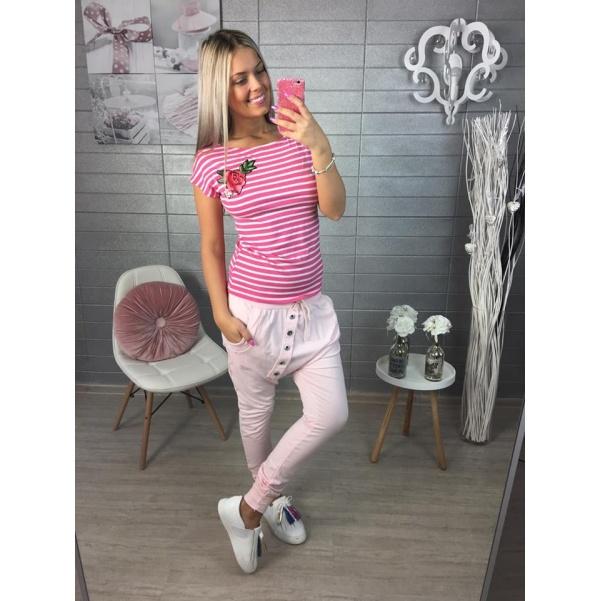 Pruhované tm.růžové triko s květinkou