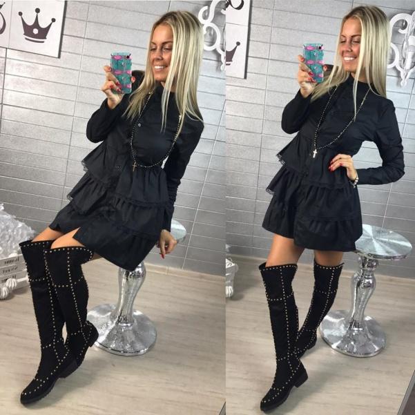 Černá volánková halenka - šaty