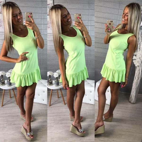 Elastické šaty s volánkem - zelená