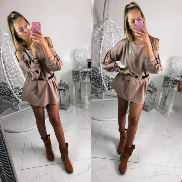 TOP mikinové šaty - hnědé