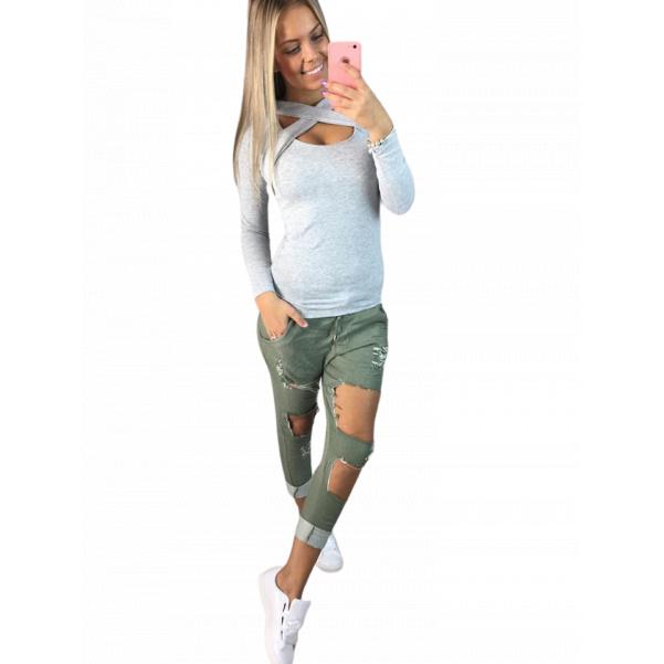 Khaki trhané kalhoty TOP