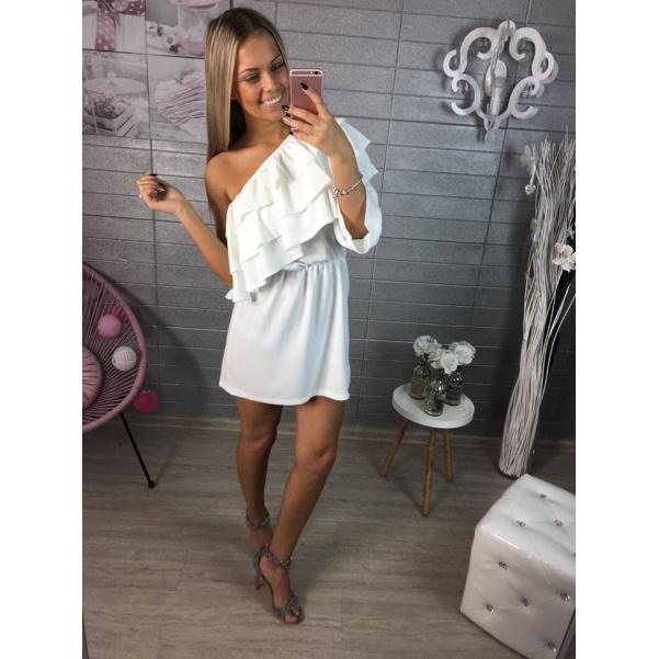 Luxusní  bíle šaty s volánky