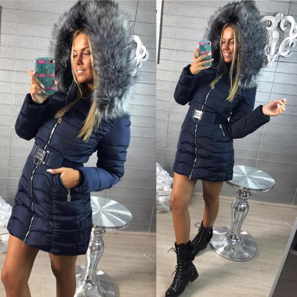 Luxusní Modrá bundička s páskem a bohatým kožíškem