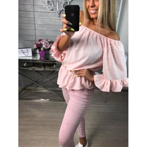 Růžová volánková halenka s perličkami
