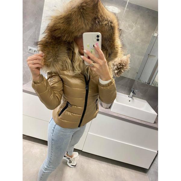 Luxusní vypasovaná bunda s natur kožichem