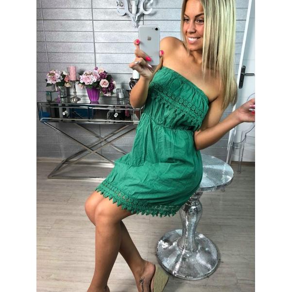 Zelené šaty s krajkou
