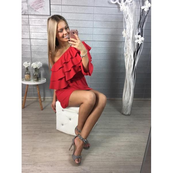 Luxusní červené šaty s volánky