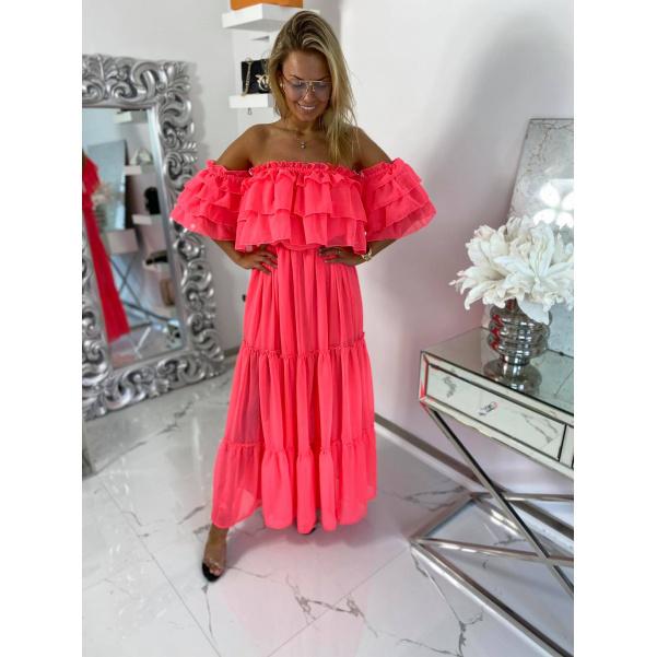 Dokonalé Maxi šaty s volánkem - neon růžové