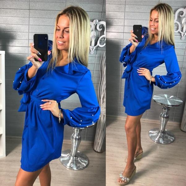 Krásná modrá košile s perličkami