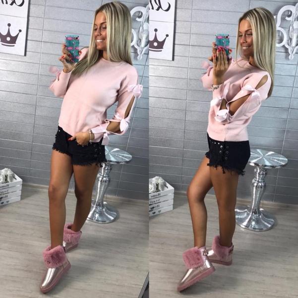 Svetřík s mašlema růžový
