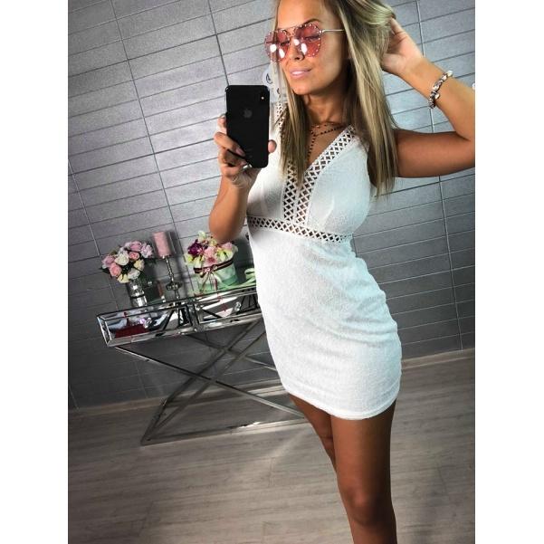 Bíle krajkové šaty na hrubší ramínka