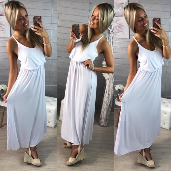 Dlouhé pohodové šaty - bíla