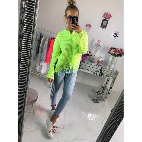 Trhaný svetr neon žlutý