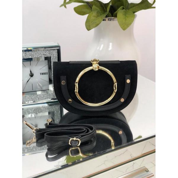 Luxusní černá kožená kabelka