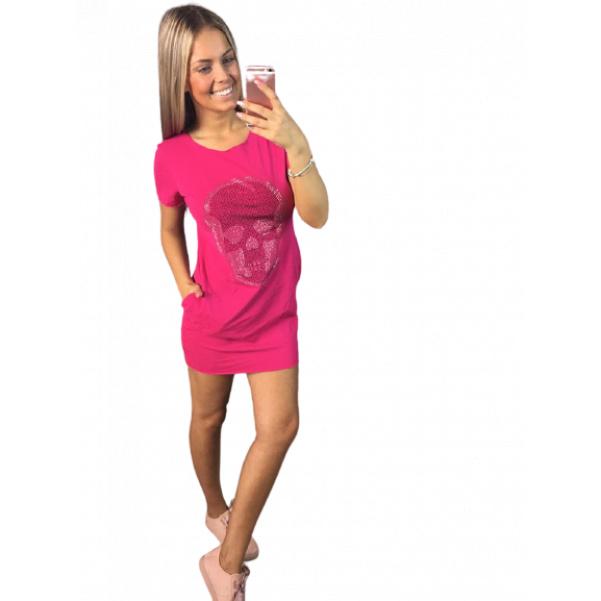 Růžové tunikošaty s lebkou