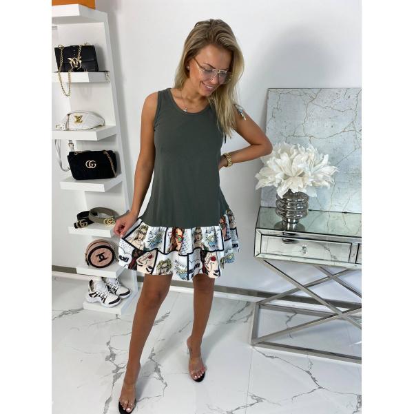 Komixové šaty - khaki