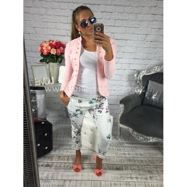 Květinkové jeans kalhoty zdobené zipem