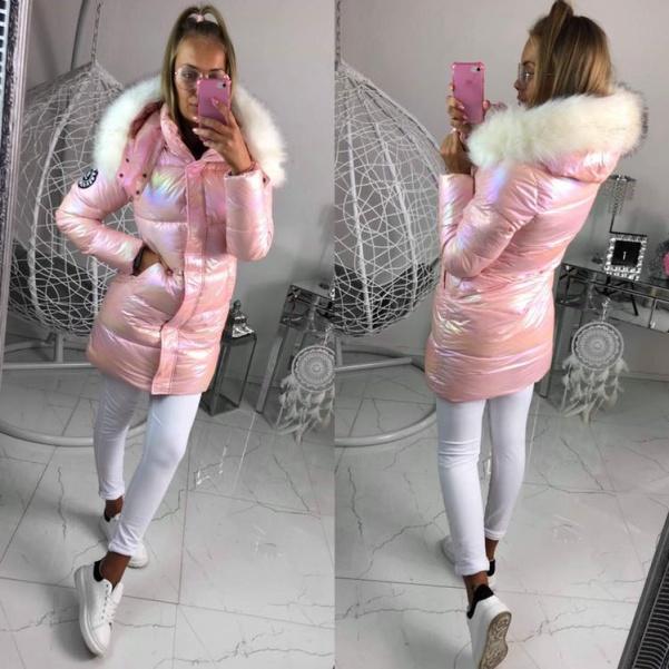 Měníci se zimní bunda s bílým kožichem- Růžová