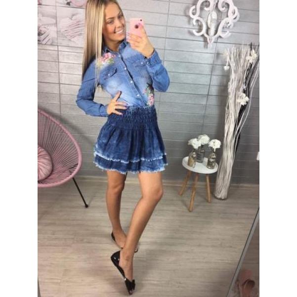 Jeans suknička s volánky