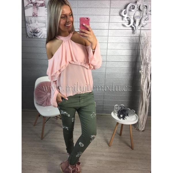 Khaki kalhoty s trháním