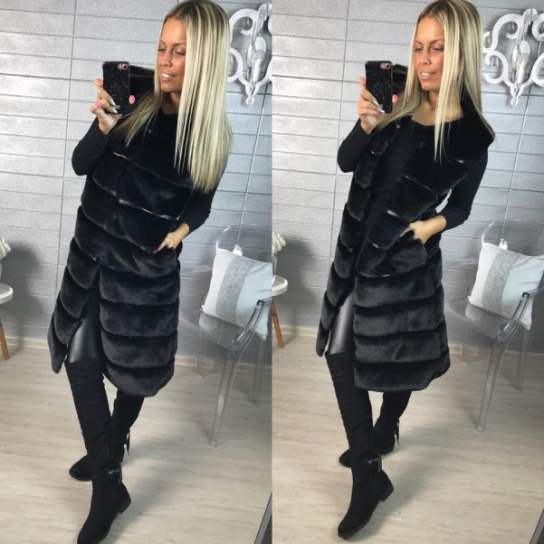 Long bochánková vestička - BLACK