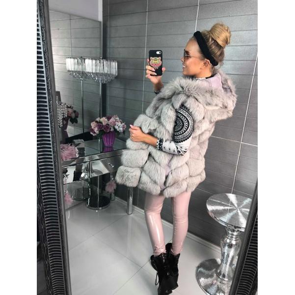 Luxusní prava vesta s kapucí