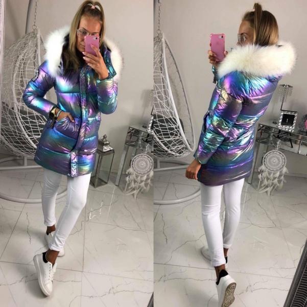 Měníci se zimní bunda s bílým kožichem- Modrá