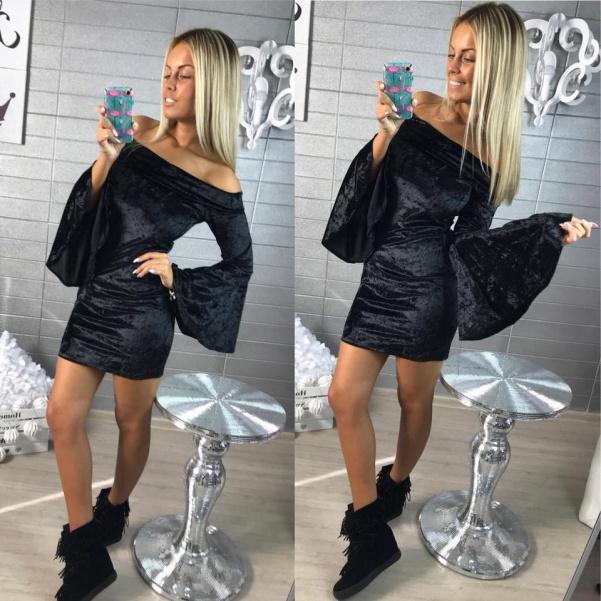 Šaty satén - BLACK
