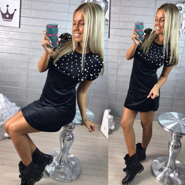 Semišové černé šaty s perličkami