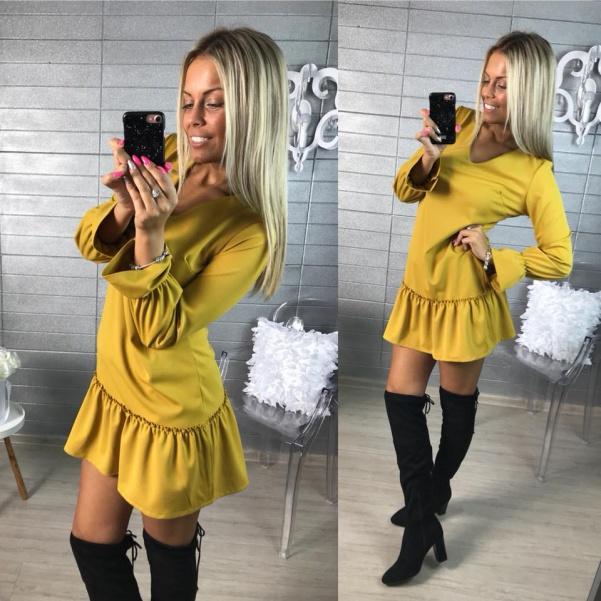 Krásné volánkové  šatičky - žlutá