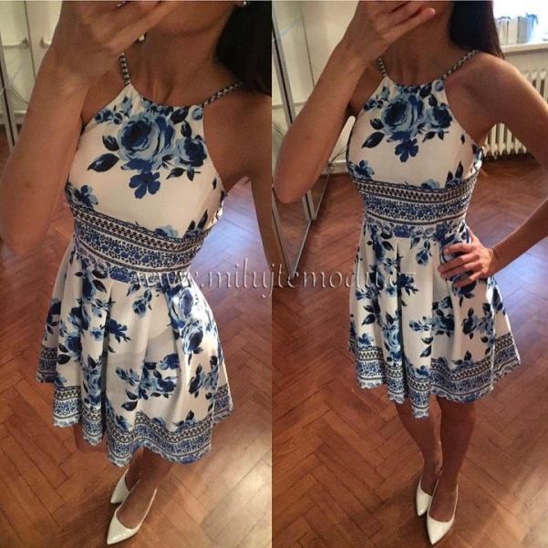 Modré šaty flowers