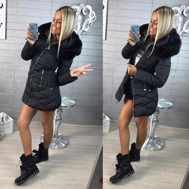 Vypasovaná zimní bundička - BLACK