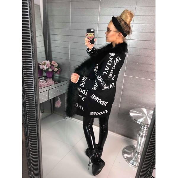 Svetříkokabátek JADORE - černý s bohatým kožíškem
