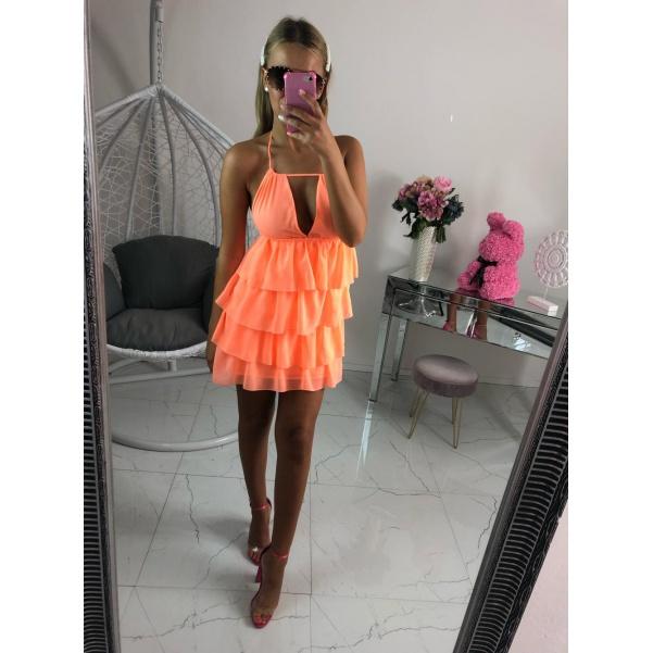Nádherné volánkové šaty neon oranžové