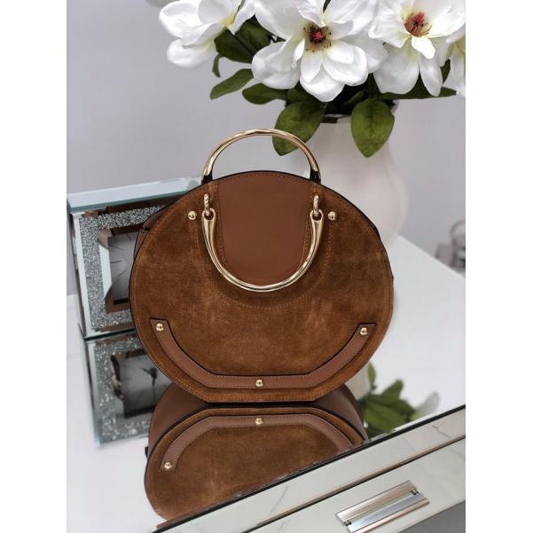 Luxusní kožená kabelka se zlatými doplňky - camel