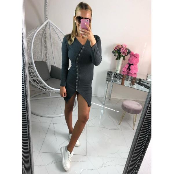 Šaty s knoflíky - šedé