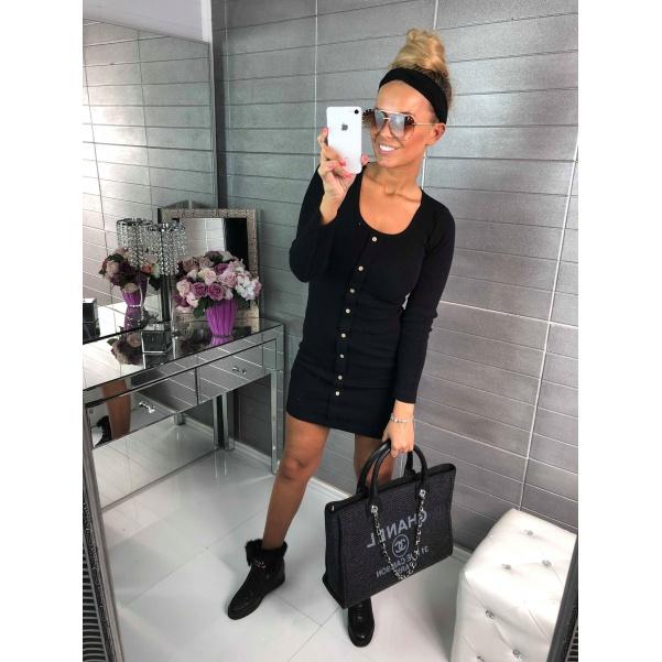Černé šaty s knoflíky