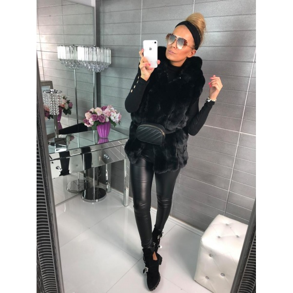 Luxusní vesta s mega kapucí - TOP černá
