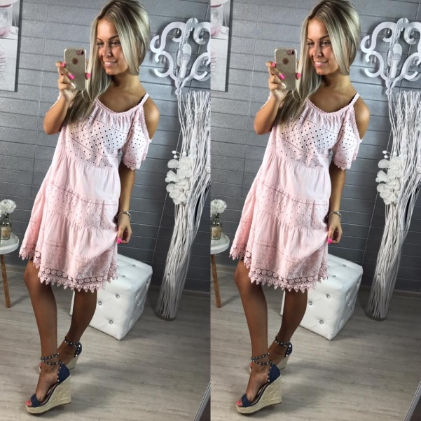 Úžasné krajkové šatičky pink
