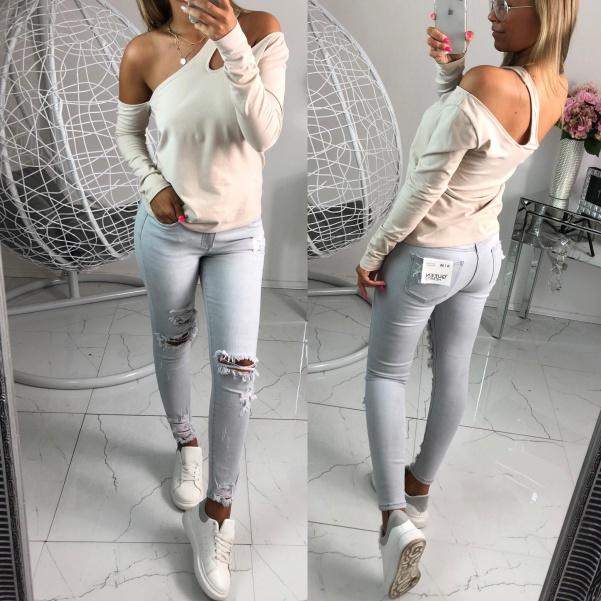 TOP trhané šedé džíny