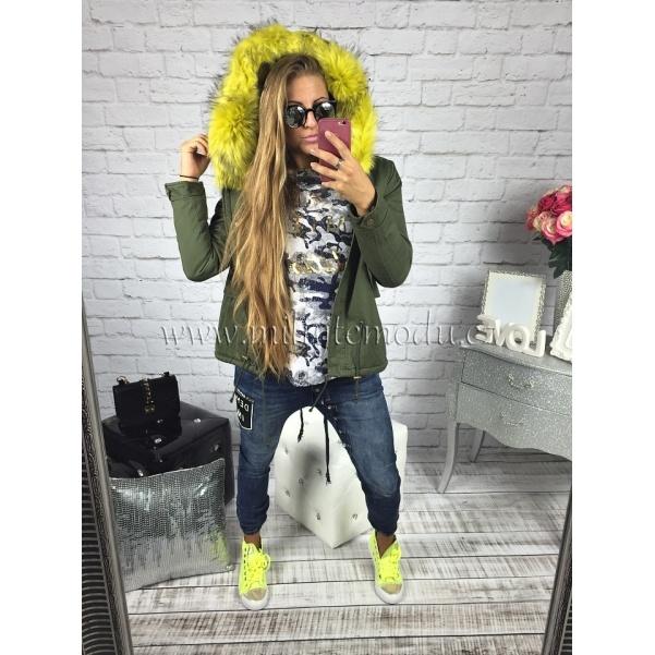 Krátká khaki bunda se žlutým kožichem