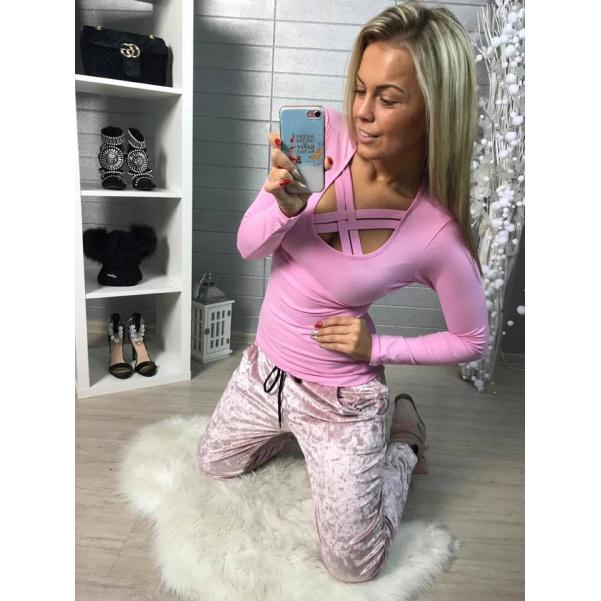 Pink tričko s křížením