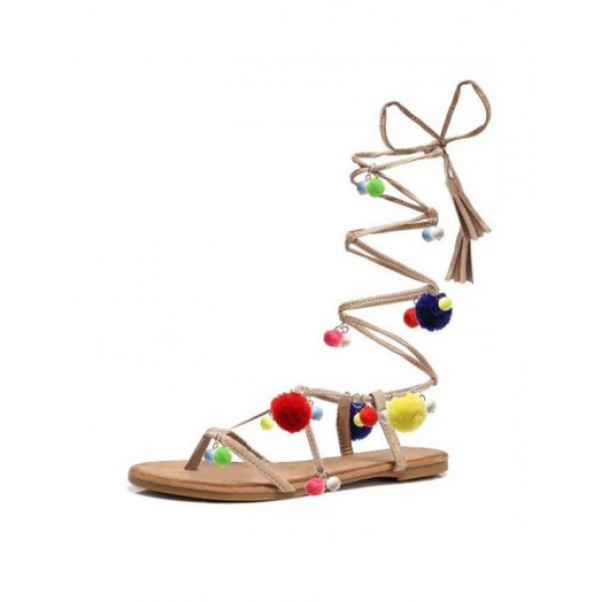 Boho sandálky béžové