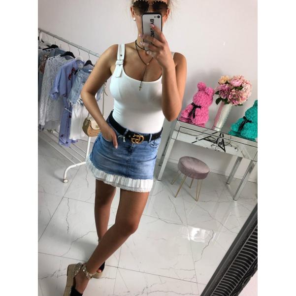 Jeans sukně s volánkem