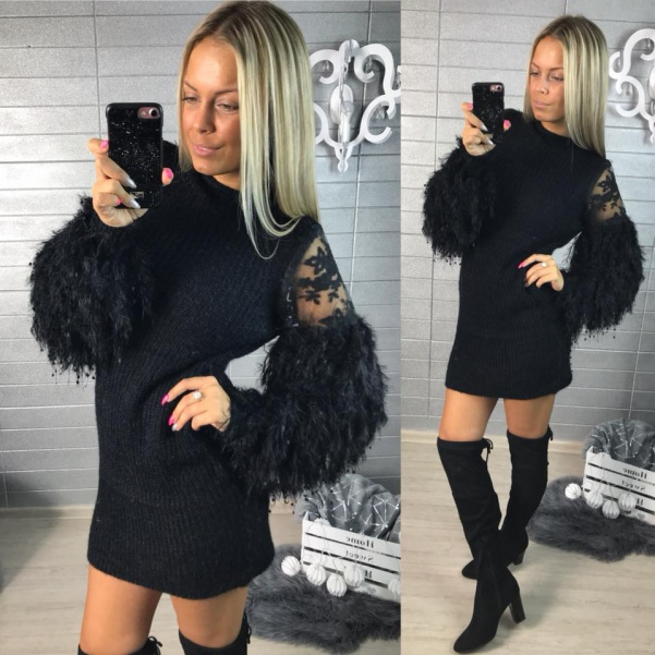 Luxusní svetříkové šaty - PARIS černá