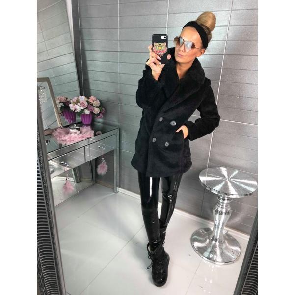 Super černý kabátek-kožíšek