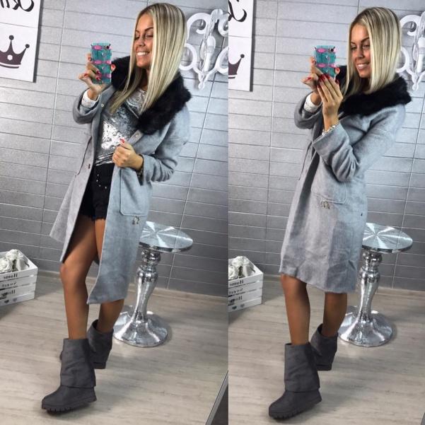 Grey kabátek s kožíškem