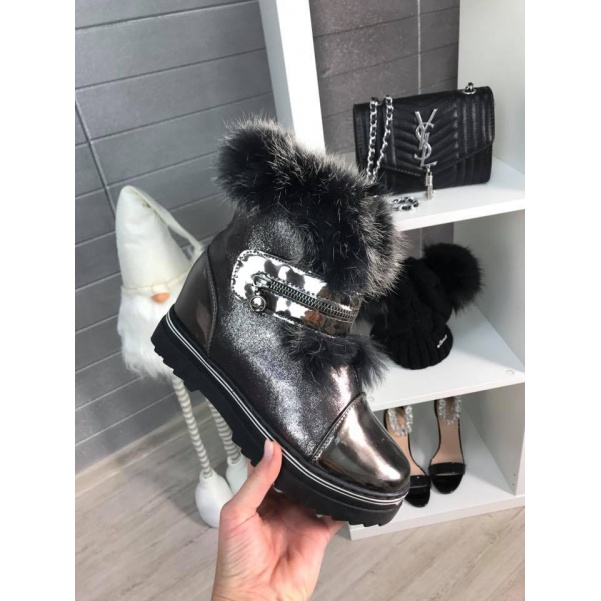 Vyteplené boty s kožíškem Black