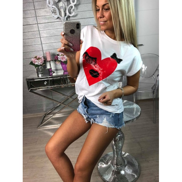 Bílé tričko heart