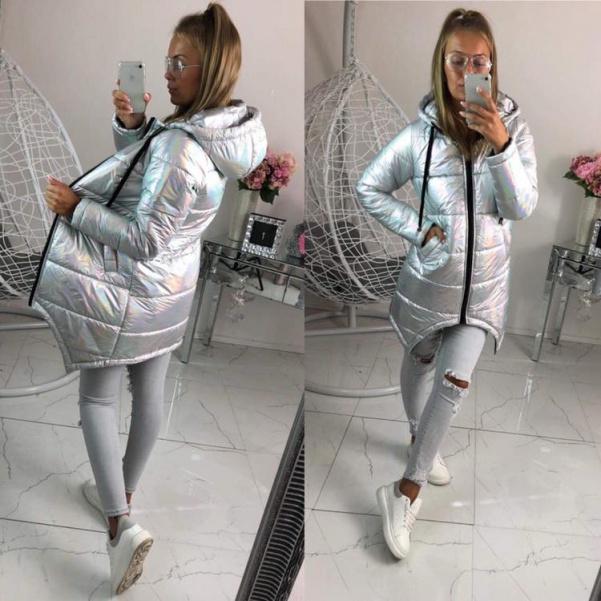Krásná stříbrná bunda s kapucí